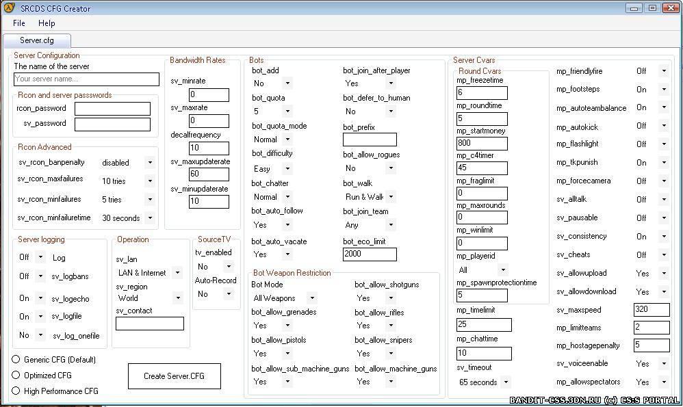Как создать cfg для css v34